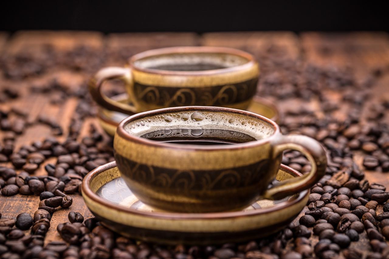 Картинка Кофе Зерна Чашка Блюдце Продукты питания зерно Еда Пища чашке блюдца
