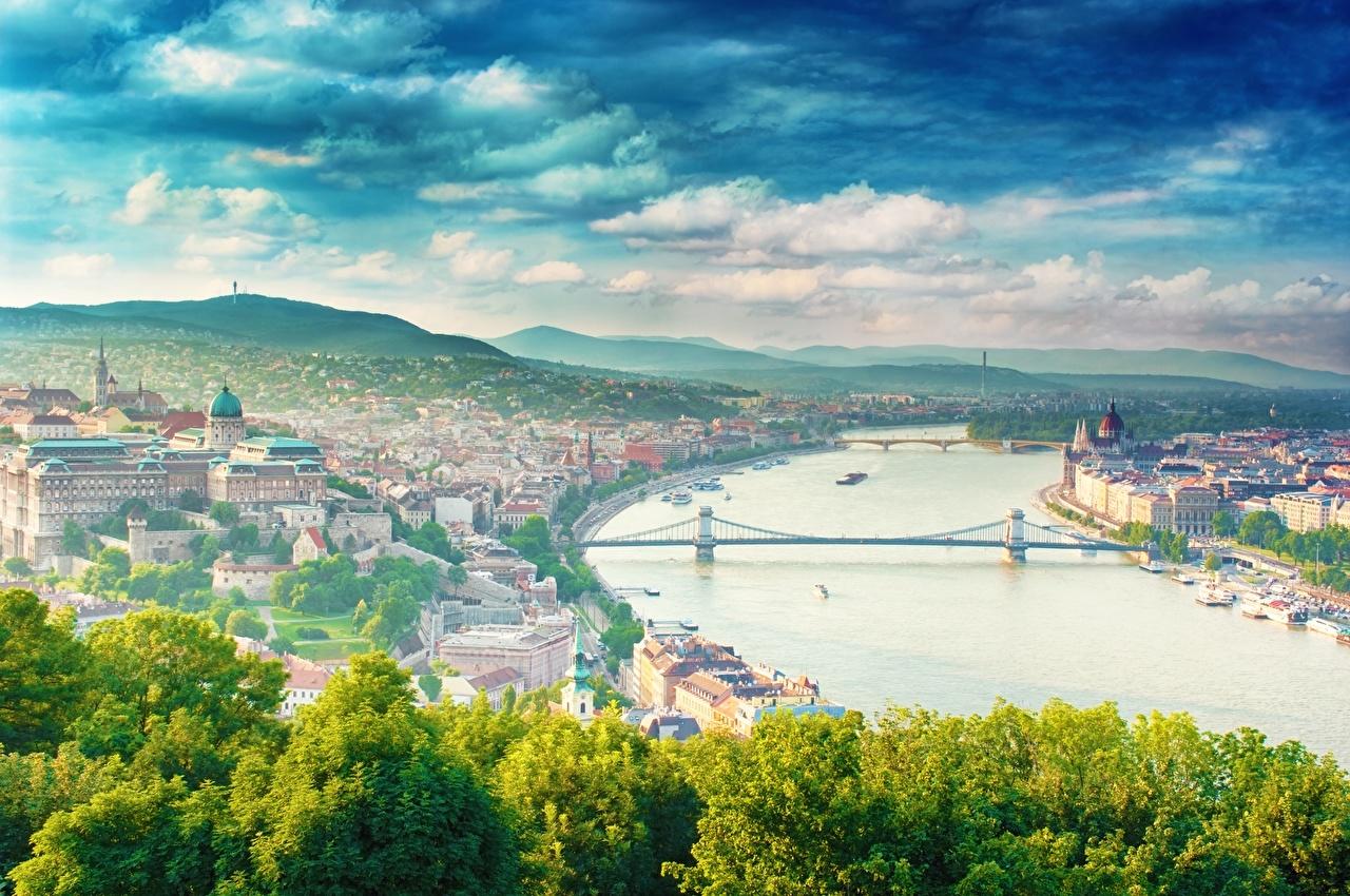 Обои для рабочего стола Будапешт Венгрия dunai Мосты речка Города мост река Реки город