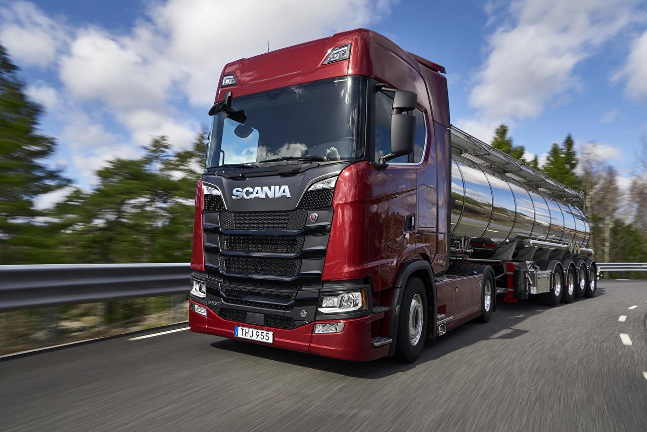 Картинка Scania Грузовики S 650 Красный Движение Машины Сканиа едущий скорость Авто Автомобили