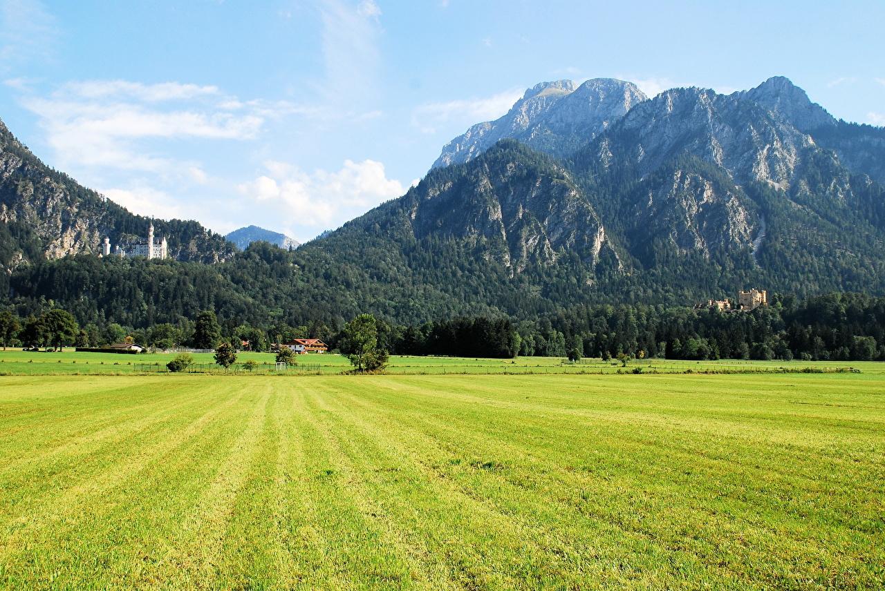 Фотографии Германия Schwangau Горы Природа Поля Пейзаж гора