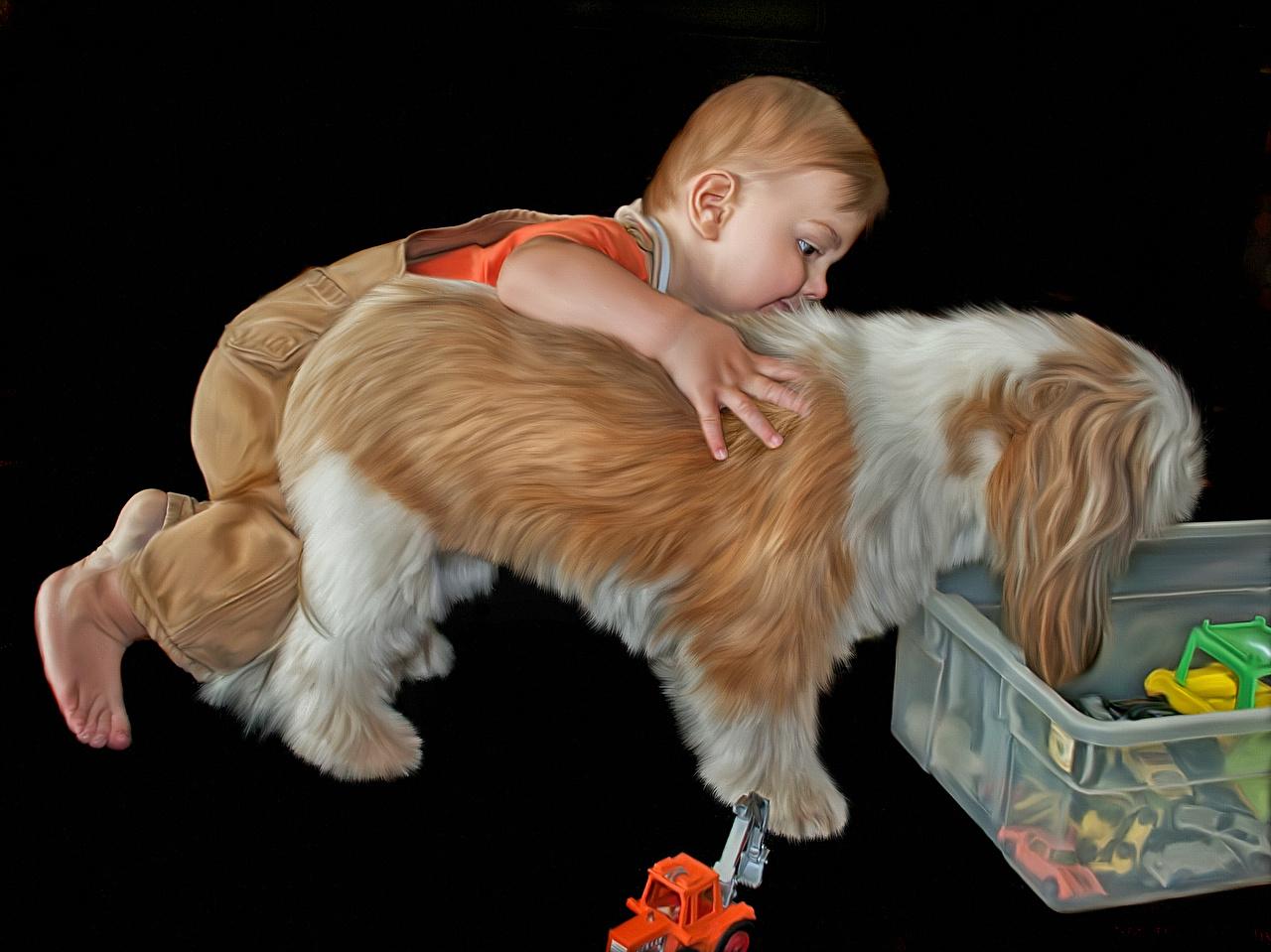 Фотографии собака мальчик ребёнок на черном фоне Собаки Мальчики мальчишки мальчишка Дети Черный фон