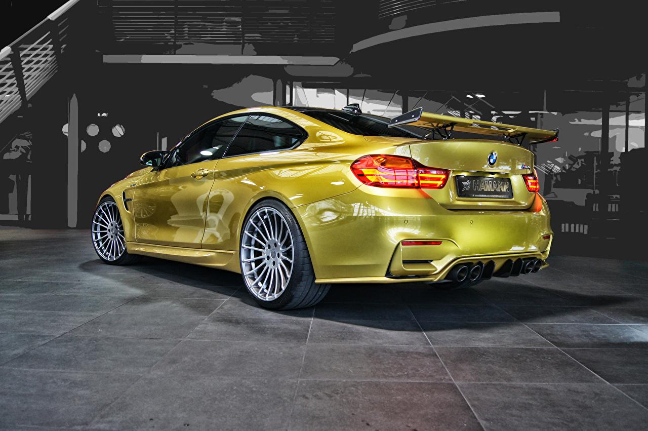 Фото БМВ 2014 M4 F82 Золотой авто Сзади BMW золотые золотая золотых машины машина вид сзади Автомобили автомобиль