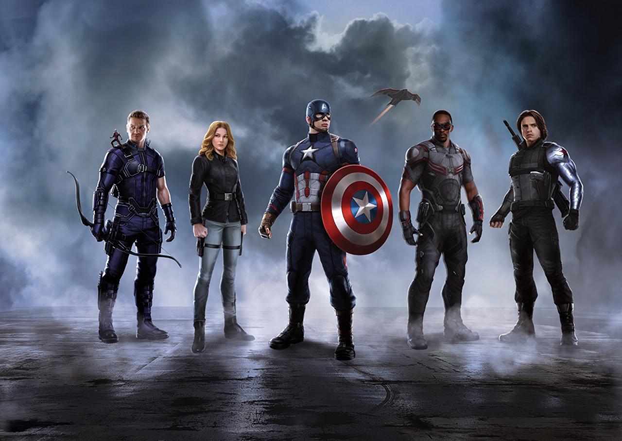 Картинка Первый мститель: Противостояние Скарлетт Йоханссон с щитом Капитан Америка герой Железный человек герой Фильмы Знаменитости Scarlett Johansson Щит щиты кино