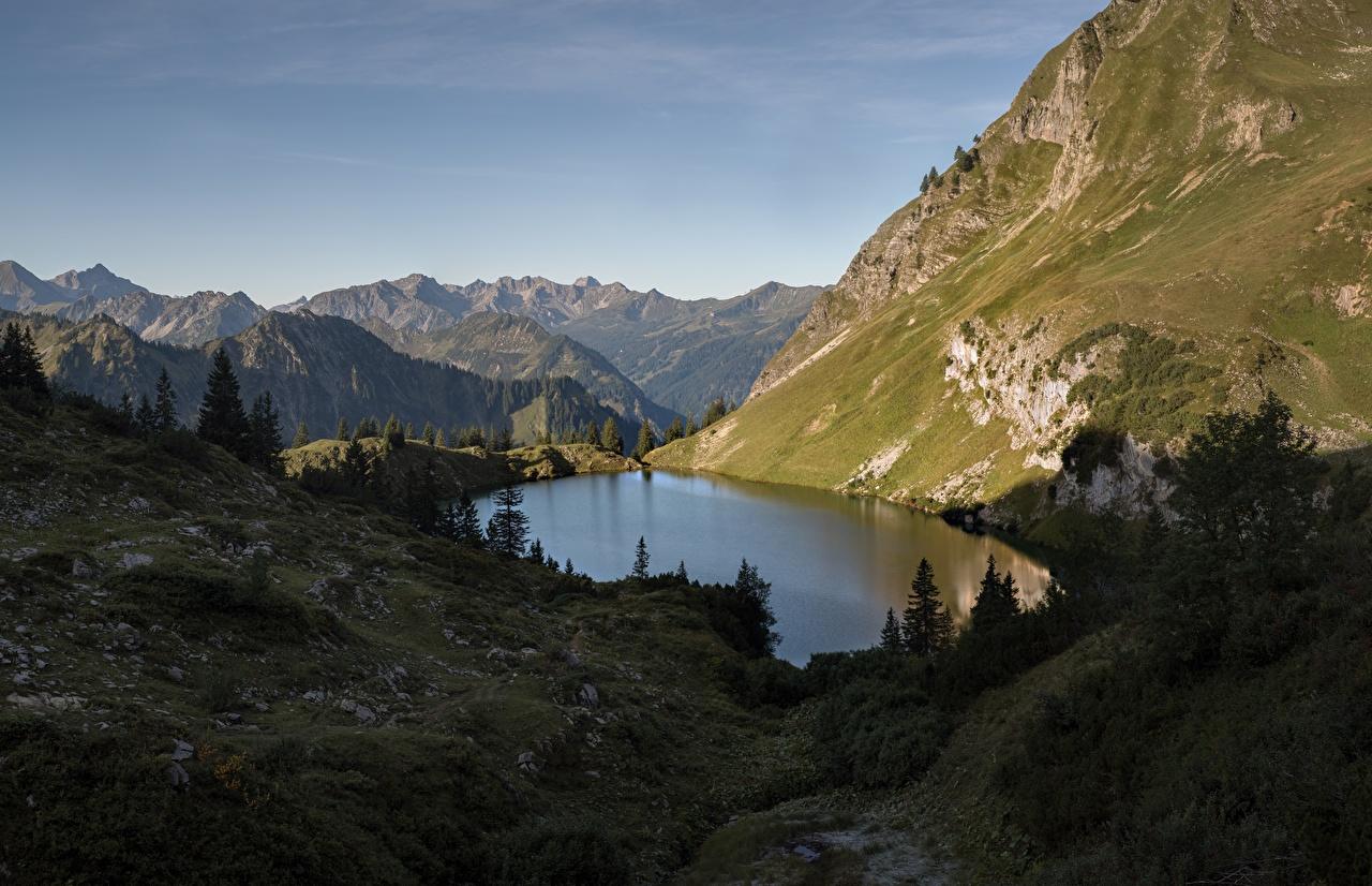 Фотографии альп Германия Bergsee, Mecklenburg-Vorpommern Горы Природа Озеро Альпы гора