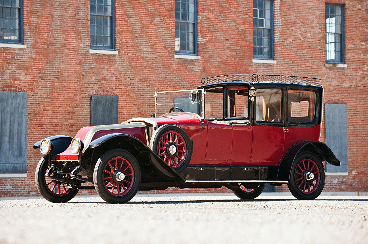 Фотографии Рено 1921 Type JP Town Car by Kellner Freres красных старинные Металлик Автомобили Renault Ретро винтаж красная красные Красный авто машины машина автомобиль