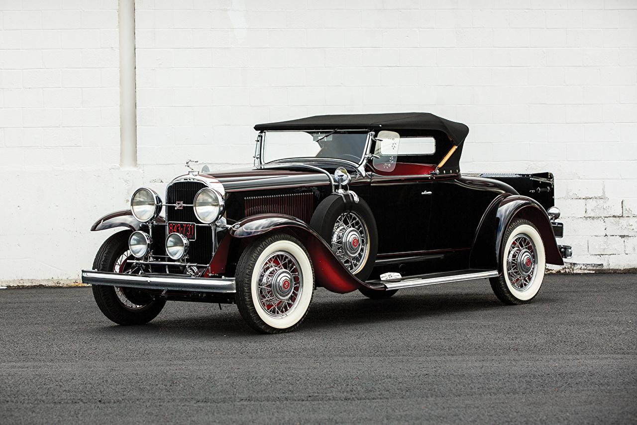 Фотография Бьюик 1931 Series 90 Roadster Родстер Ретро Черный Автомобили Buick Винтаж старинные Авто Машины