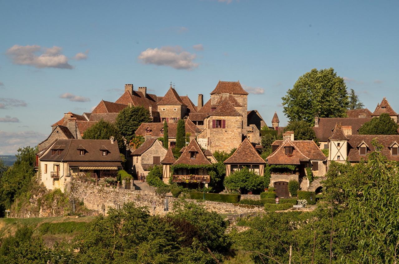 Фотографии Франция Loubressac Дома Города город Здания