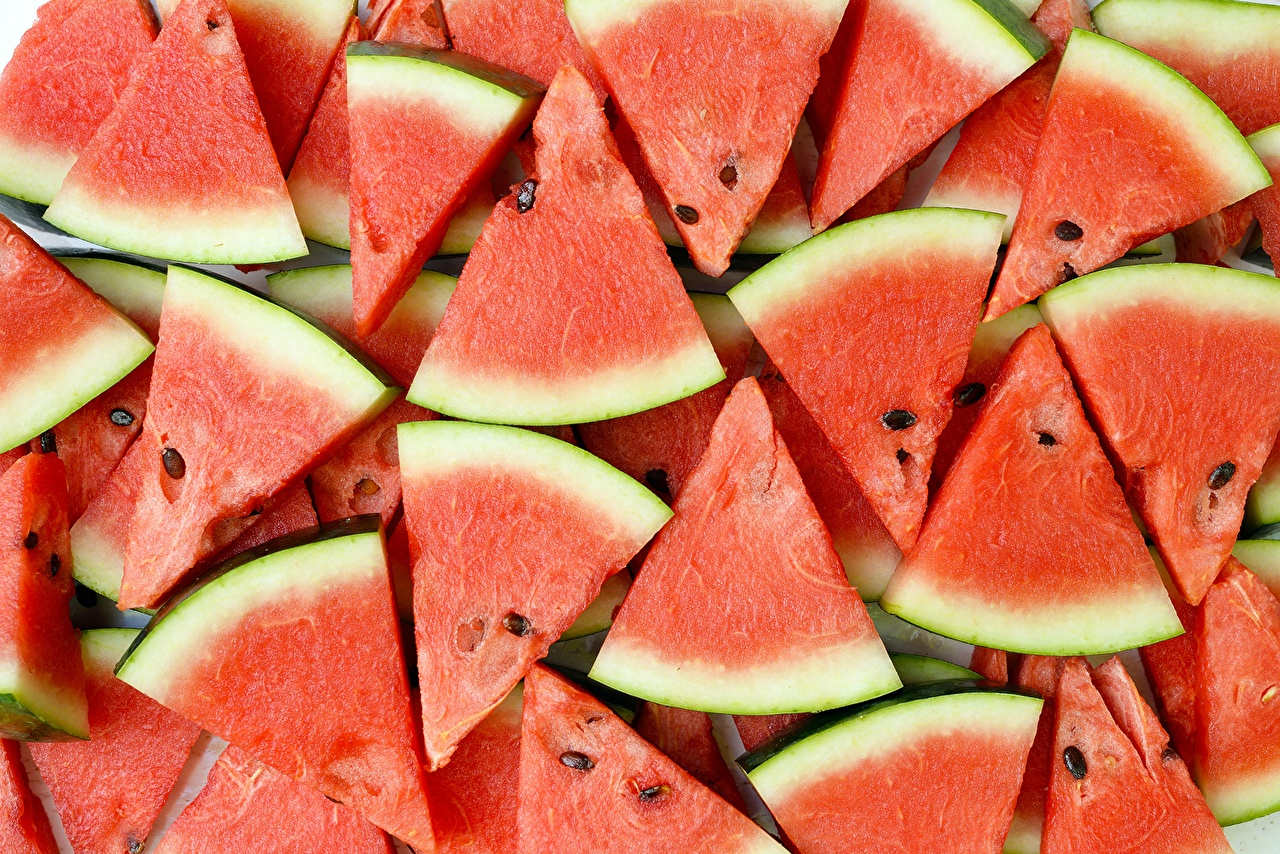 Картинка Текстура Арбузы кусочки Еда часть Кусок кусочек Пища Продукты питания