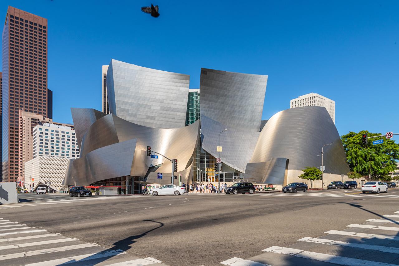 Обои для рабочего стола калифорнии Лос-Анджелес штаты Walt Disney Concert Hall Улица город Здания Дизайн Калифорния США улиц улице Дома Города дизайна