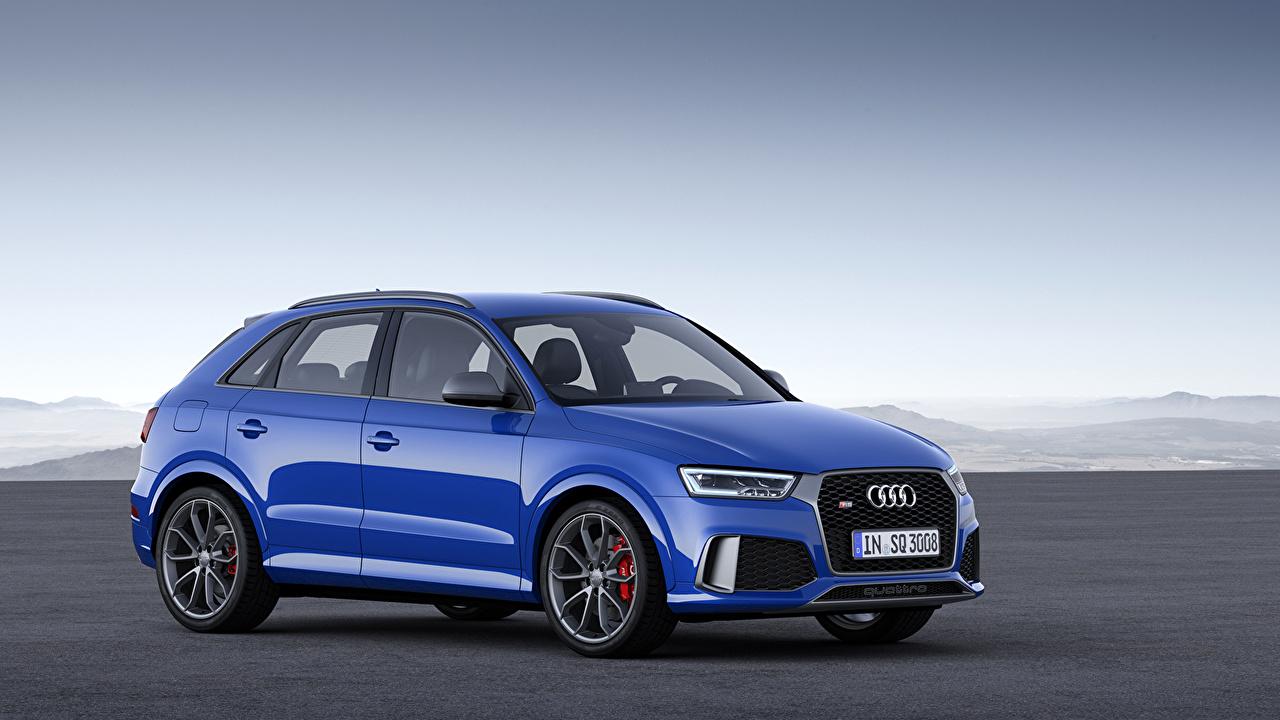 Обои для рабочего стола Ауди 2016  Audi RS Q3 Amplified голубых авто Металлик Голубой голубые голубая машина машины автомобиль Автомобили