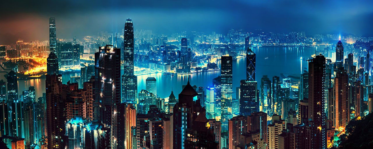 Картинка Гонконг Китай Мегаполис Реки ночью Небоскребы Города Здания мегаполиса Ночь река речка в ночи Ночные Дома город