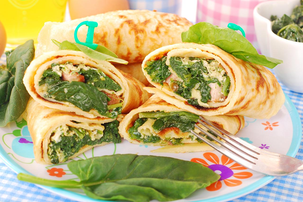 Картинки Блины Еда Овощи Тарелка Пища Продукты питания
