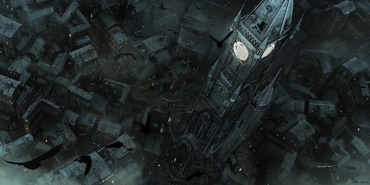 Фото Thief Вороны Башня Часы Игры Сверху Дома Города Здания