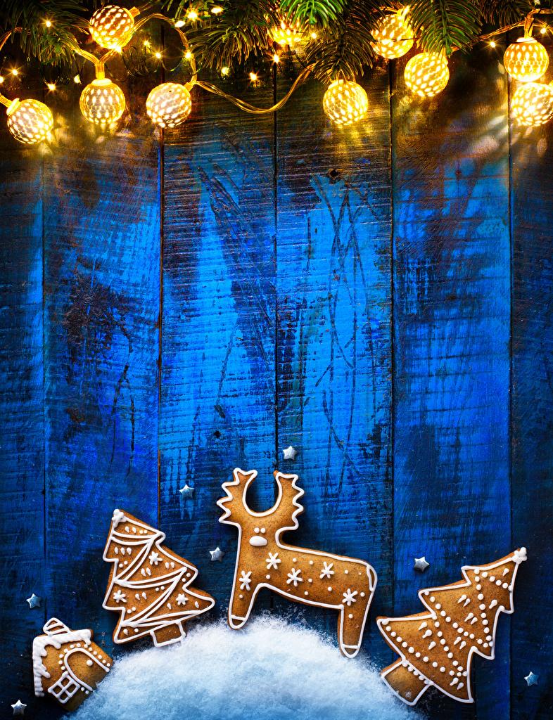Обои для рабочего стола Олени Новый год Печенье Гирлянда Доски  для мобильного телефона Рождество Электрическая гирлянда