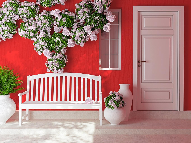 Картинка Розы Цветы двери Скамейка Дверь Скамья