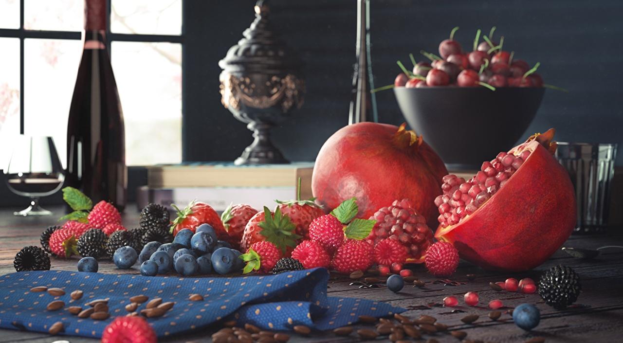 Картинки Малина Черника Ягоды Продукты питания Натюрморт Еда Пища