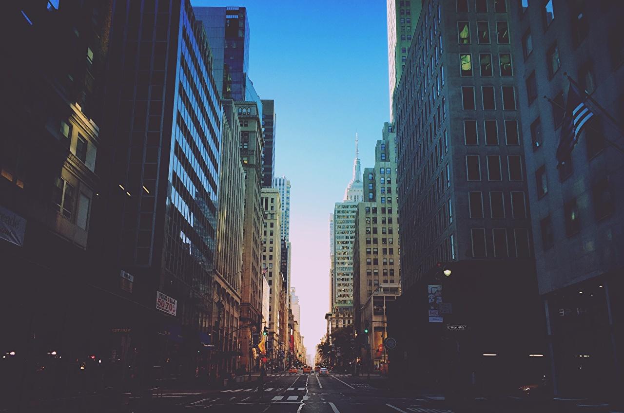 Дома, Дороги, США Улица, Нью-Йорк Здания, штаты,  Города
