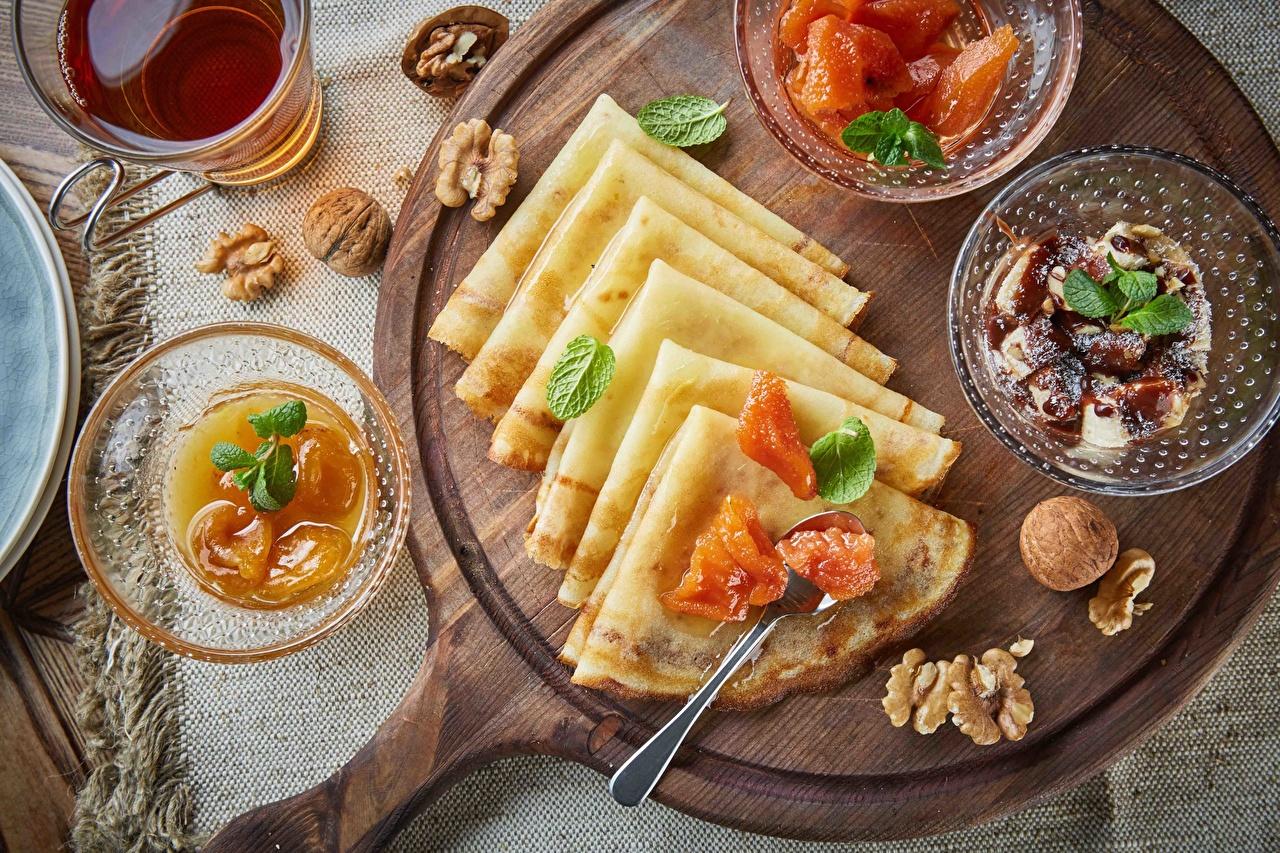 Обои для рабочего стола Блины Повидло Пища Орехи джем Варенье Еда Продукты питания