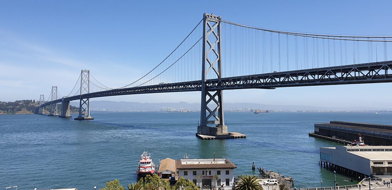 Картинки калифорнии штаты Auckland, Oakland Bay Bridge, San Francisco Bay Мосты залива Города Калифорния США Залив заливы город