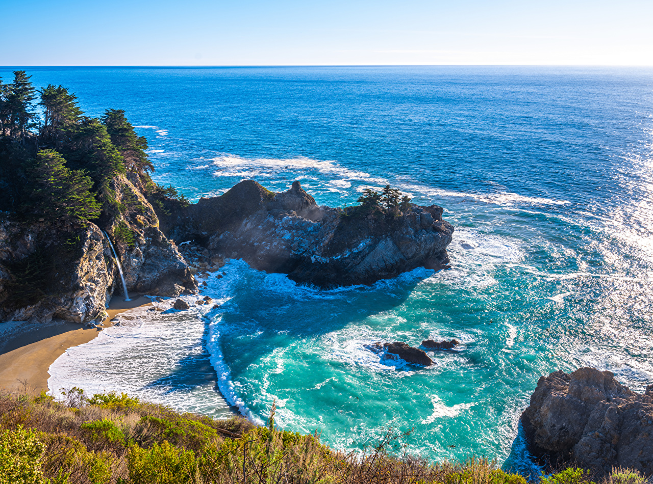 Фотографии калифорнии США Океан Скала Природа берег Калифорния штаты америка Утес скале скалы Побережье