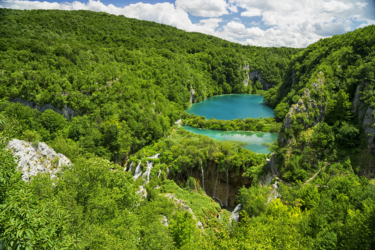 Фото Хорватия Plitvice Lakes National Park Скала Природа Леса Озеро Парки Утес скалы скале лес парк
