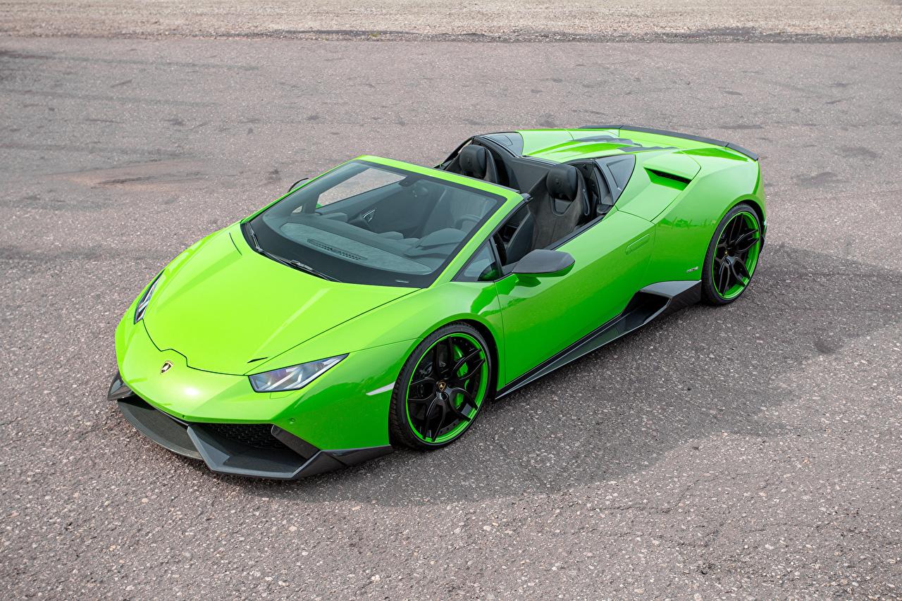 Обои для рабочего стола Lamborghini Huracan Spyder Novitec Torado зеленых Автомобили Ламборгини Зеленый зеленые зеленая авто машина машины автомобиль