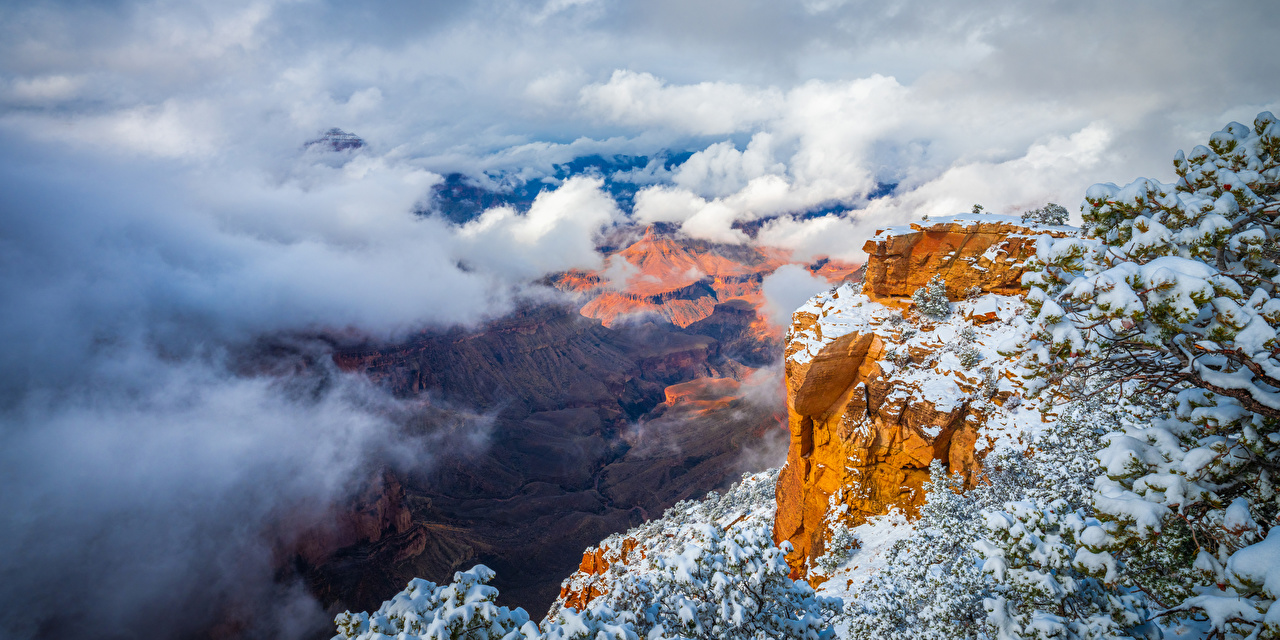 Фотография Гранд-Каньон парк США Arizona Утес Каньон Природа парк облачно штаты америка Скала скале скалы каньона каньоны Парки Облака облако