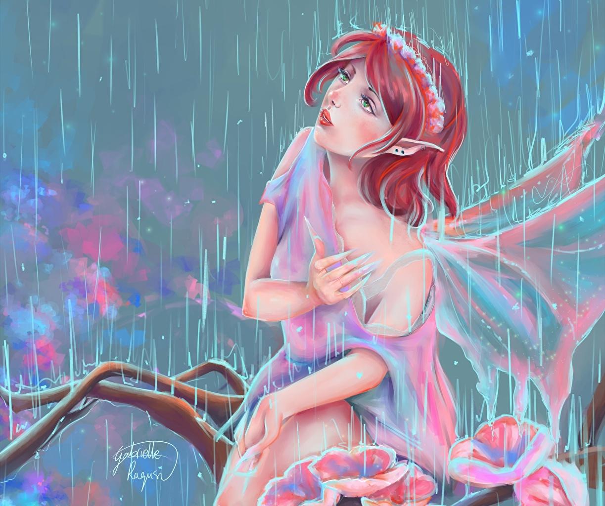 Фото Феи Рыжая Фэнтези Девушки Дождь Рисованные рыжие рыжих девушка Фантастика молодая женщина молодые женщины