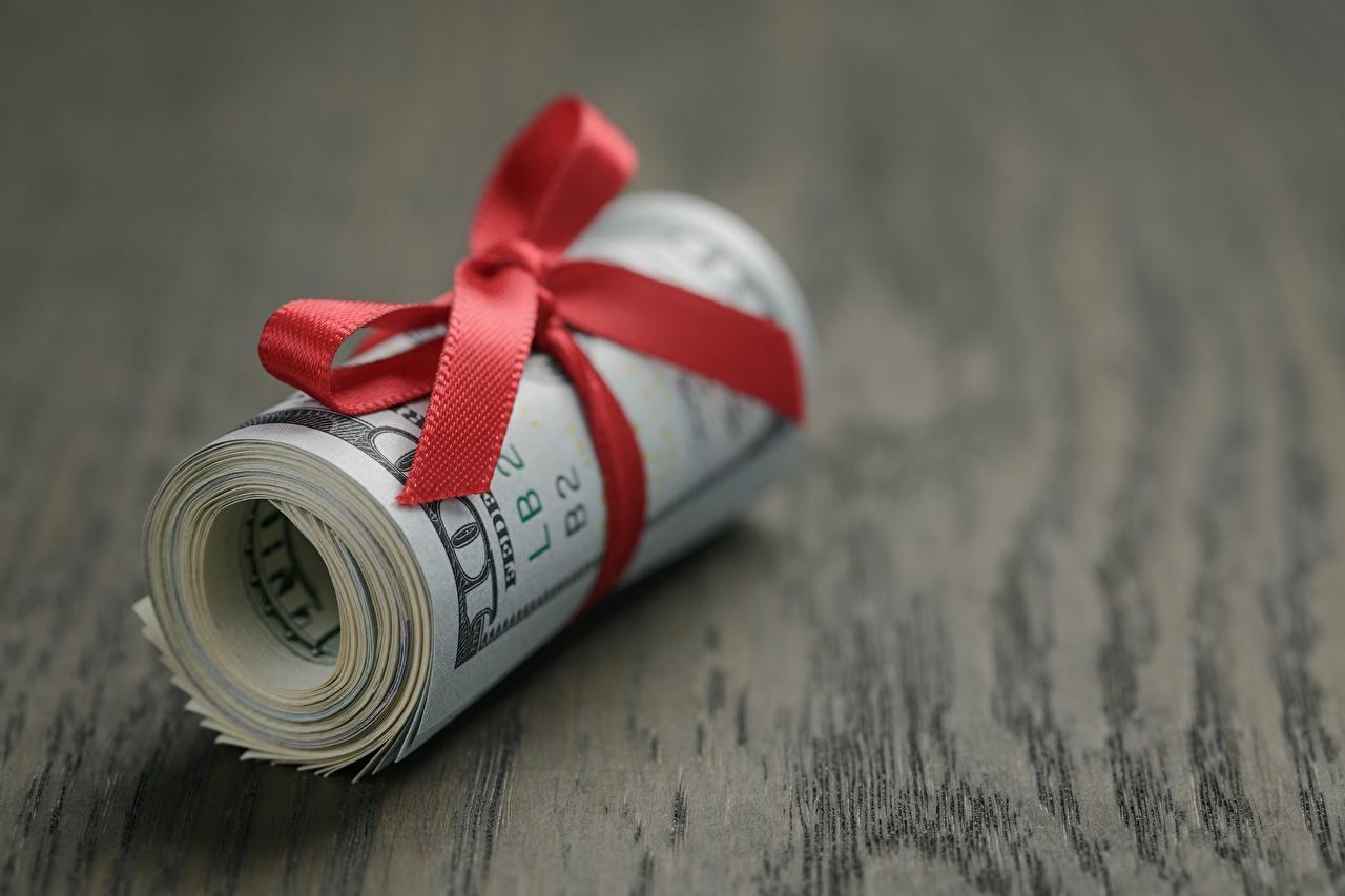 Фотографии Доллары Бантик Деньги вблизи Крупным планом