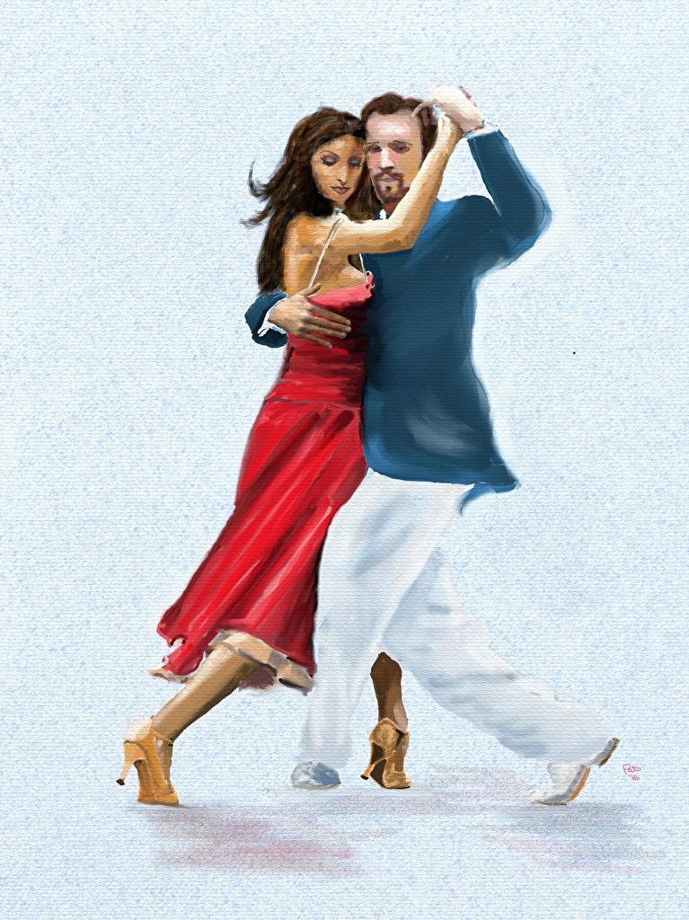 Фотографии Мужчины Танцы Tango вдвоем Девушки Рисованные Танцует 2 Двое