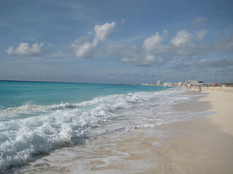 Обои для рабочего стола Мексика Cancun Пляж Море Природа Небо