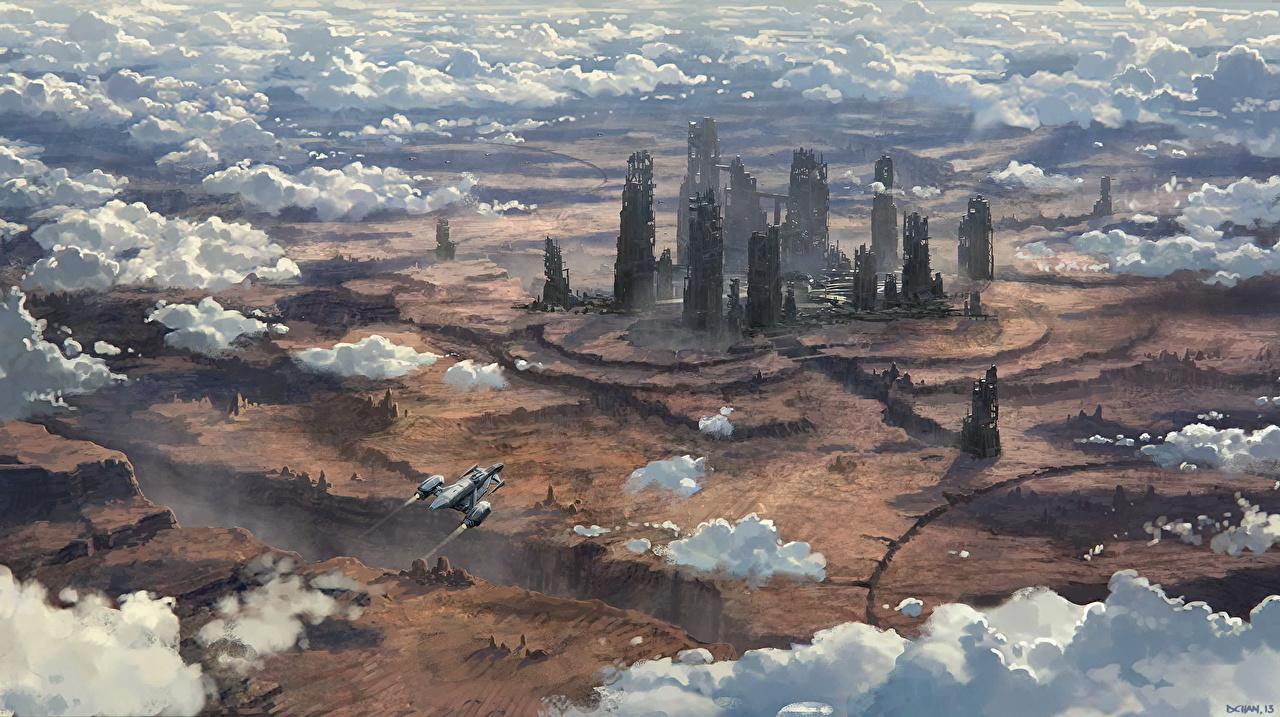 Фотография Star Citizen Фантастика Игры Корабли Фантастический мир Облака Фэнтези корабль компьютерная игра облако облачно
