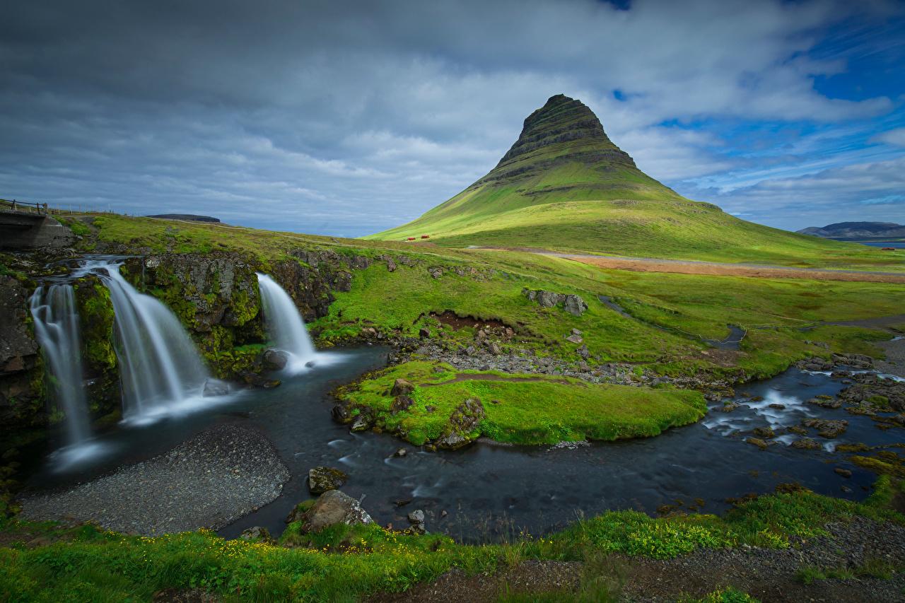 Фото Исландия Kirkjufell Горы Природа Водопады Облака гора облако облачно