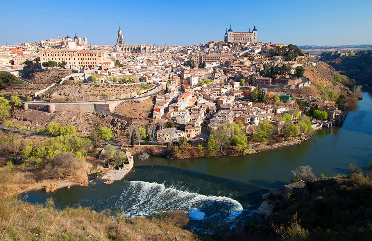 Фотографии Толедо Испания Реки Побережье Города Здания берег речка Дома