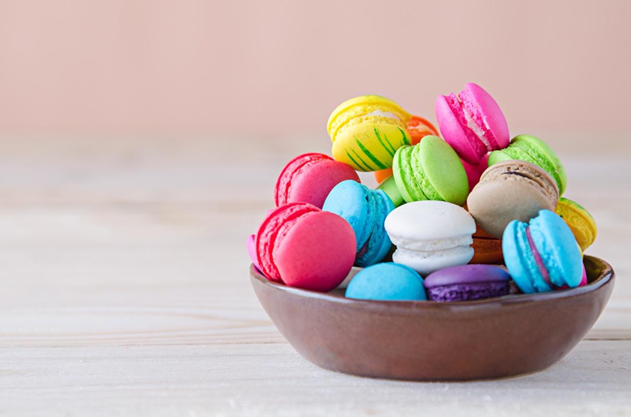 Картинки Макарон Разноцветные Миска Еда Печенье Пища Продукты питания