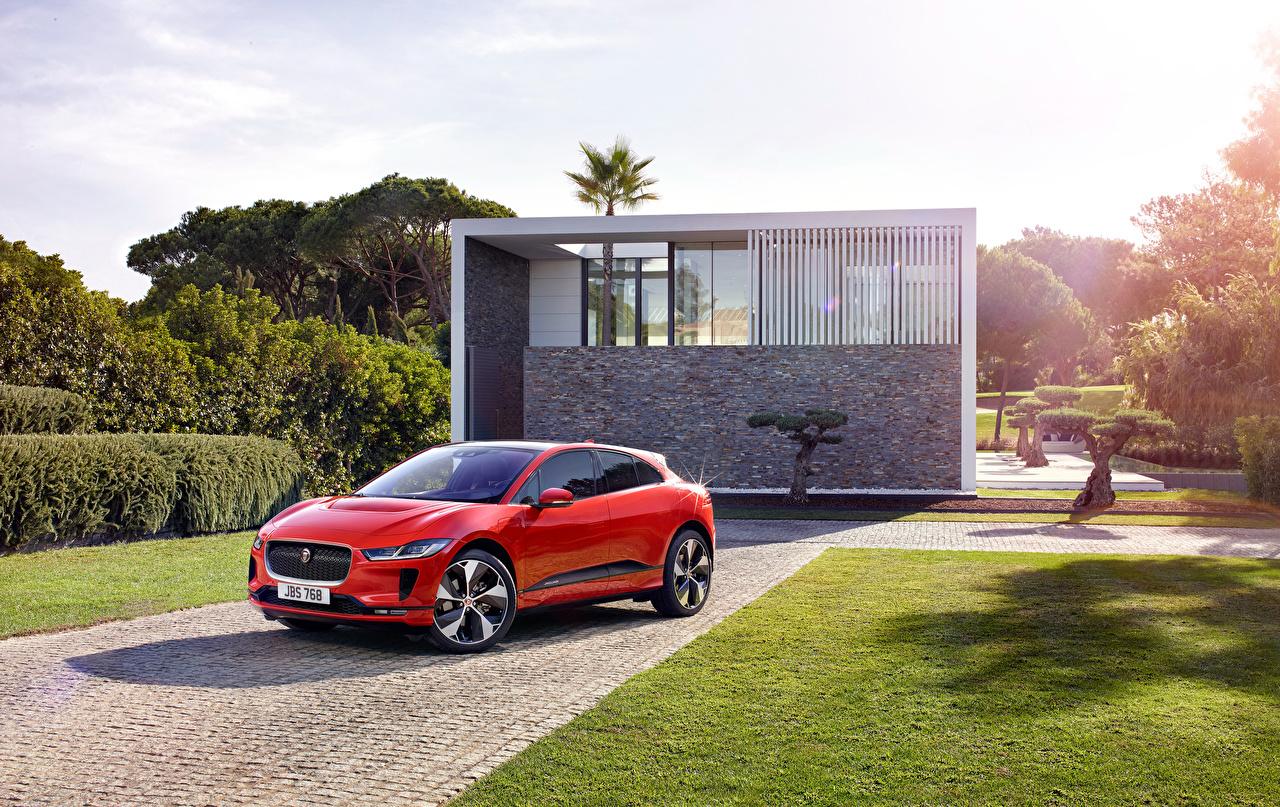 Обои Jaguar 2018 I-Pace EV400 AWD HSE Worldwide Красный Авто Металлик Ягуар Машины Автомобили