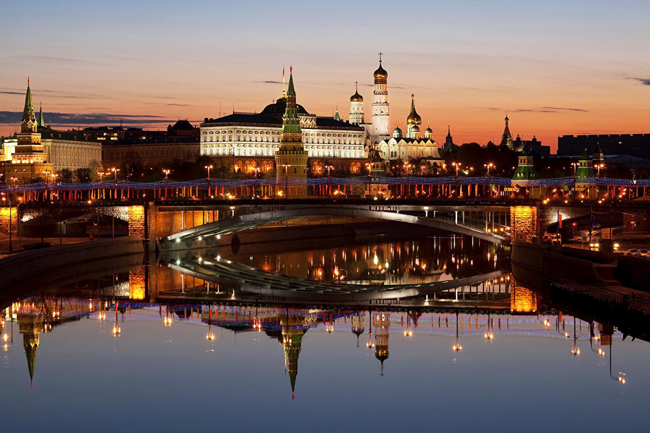 Картинки Москва Россия мост река Ночные Дома Города Мосты Ночь Реки речка ночью в ночи город Здания