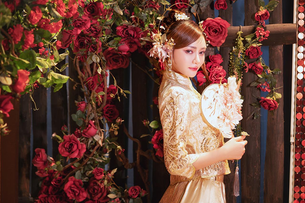 Картинка роза Девушки Азиаты Взгляд Платье Украшения Розы девушка молодая женщина молодые женщины азиатки азиатка смотрит смотрят платья