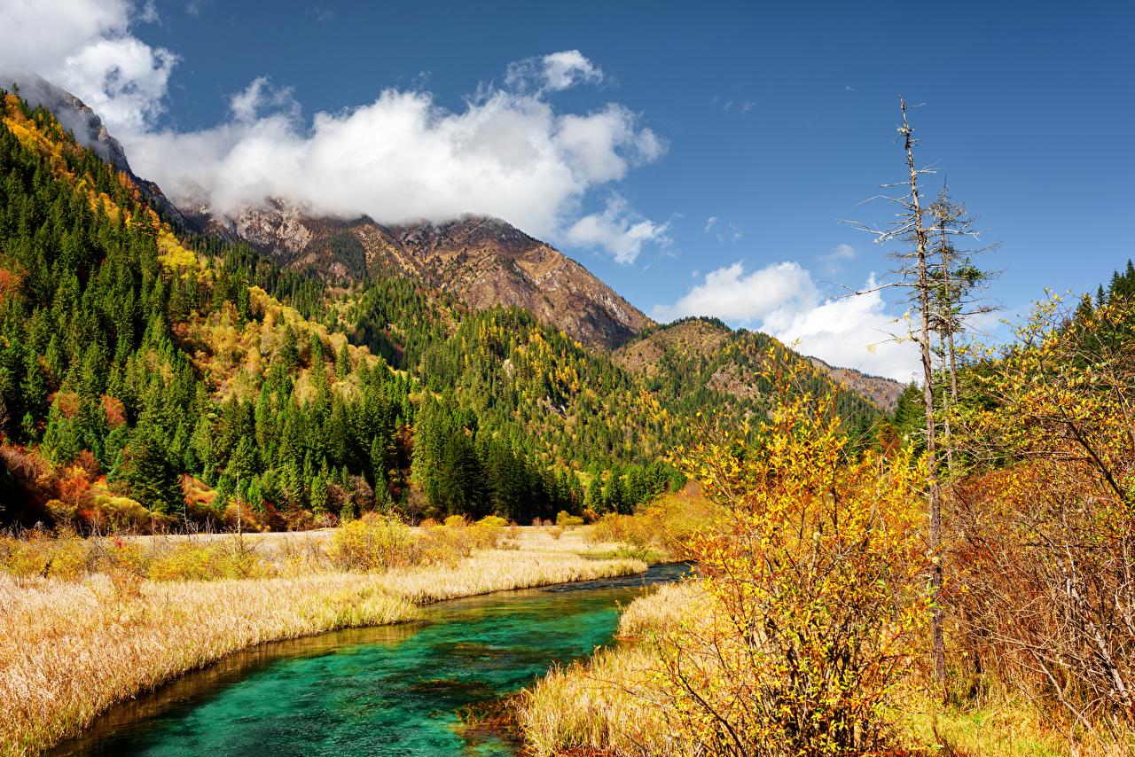 Картинка Цзючжайгоу парк Китай гора Природа осенние парк Пейзаж Реки Горы Осень Парки река речка