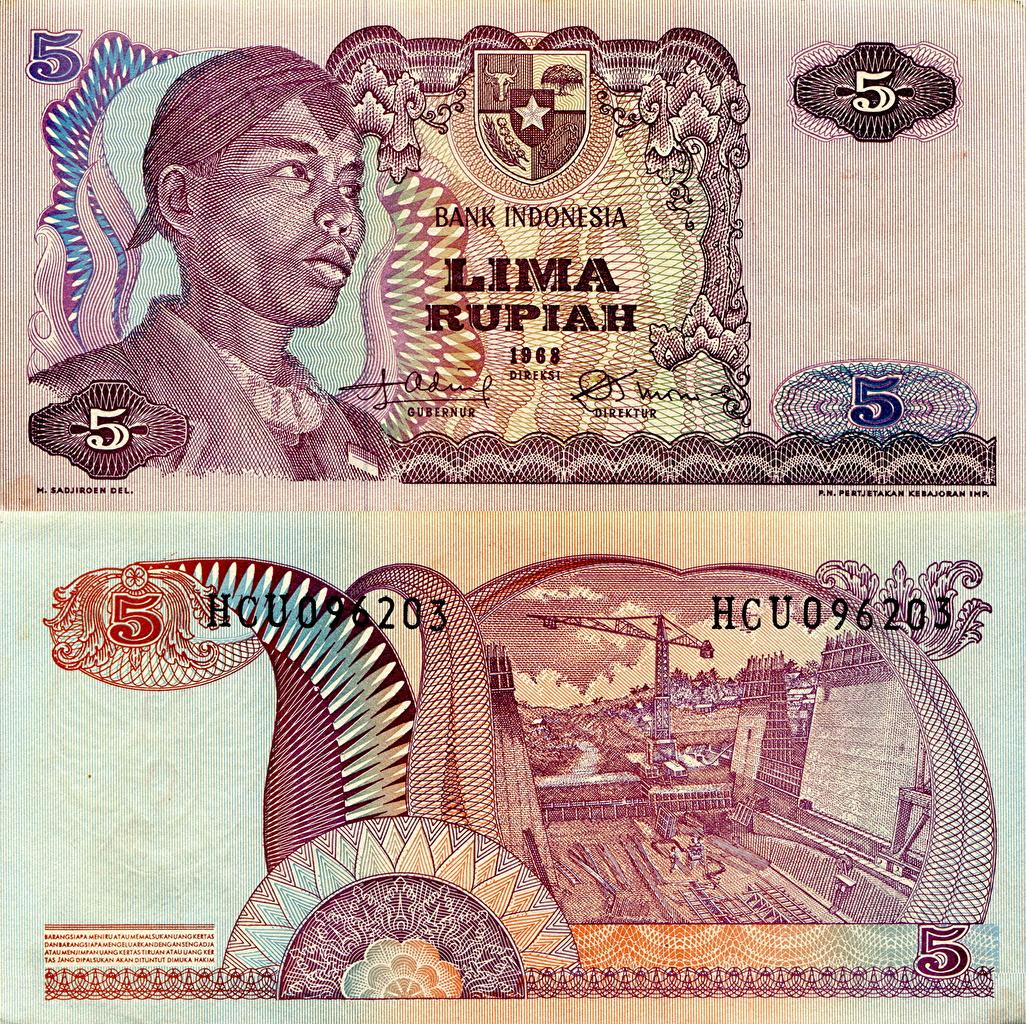 Картинки Банкноты Индонезия 5 rupees Деньги Купюры