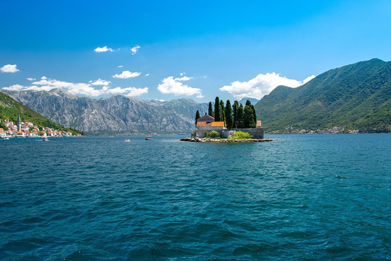 Фотография Черногория Bay Kotor, Perast Горы Природа Остров заливы гора Залив залива