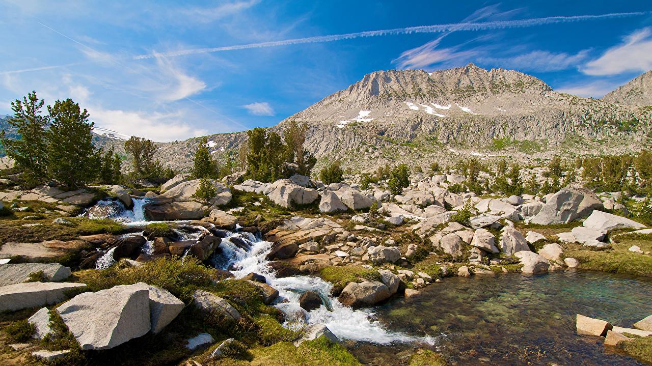 Картинка гора Ручей Природа Пейзаж речка Камень Горы ручеек Реки река Камни