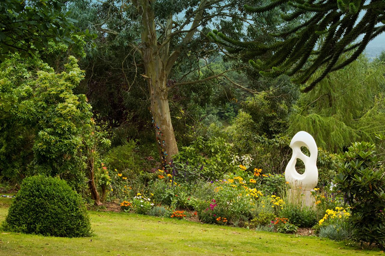 Фотографии Англия mount pleasant gardens Kelsall Природа Парки кустов Деревья Скульптуры парк Кусты дерево дерева деревьев скульптура