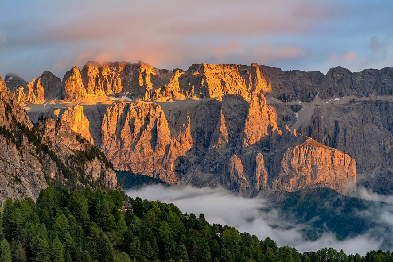 Картинки Альпы Италия Dolomites, Trentino-Alto Adige Горы Скала Природа альп гора Утес скале скалы