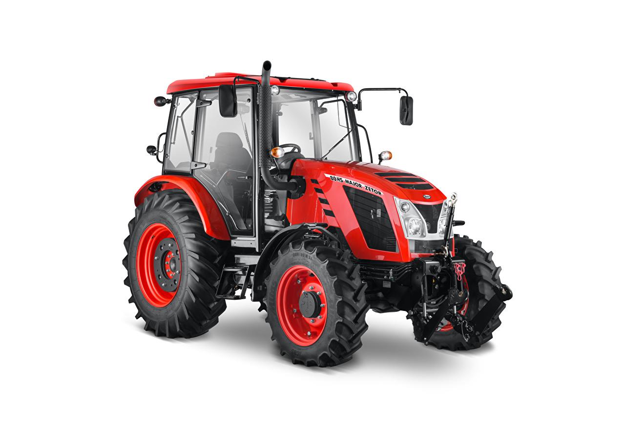 Фотография трактора Zetor Major HS 80, 2016–18 Красный белым фоном Трактор тракторы красных красные красная Белый фон белом фоне