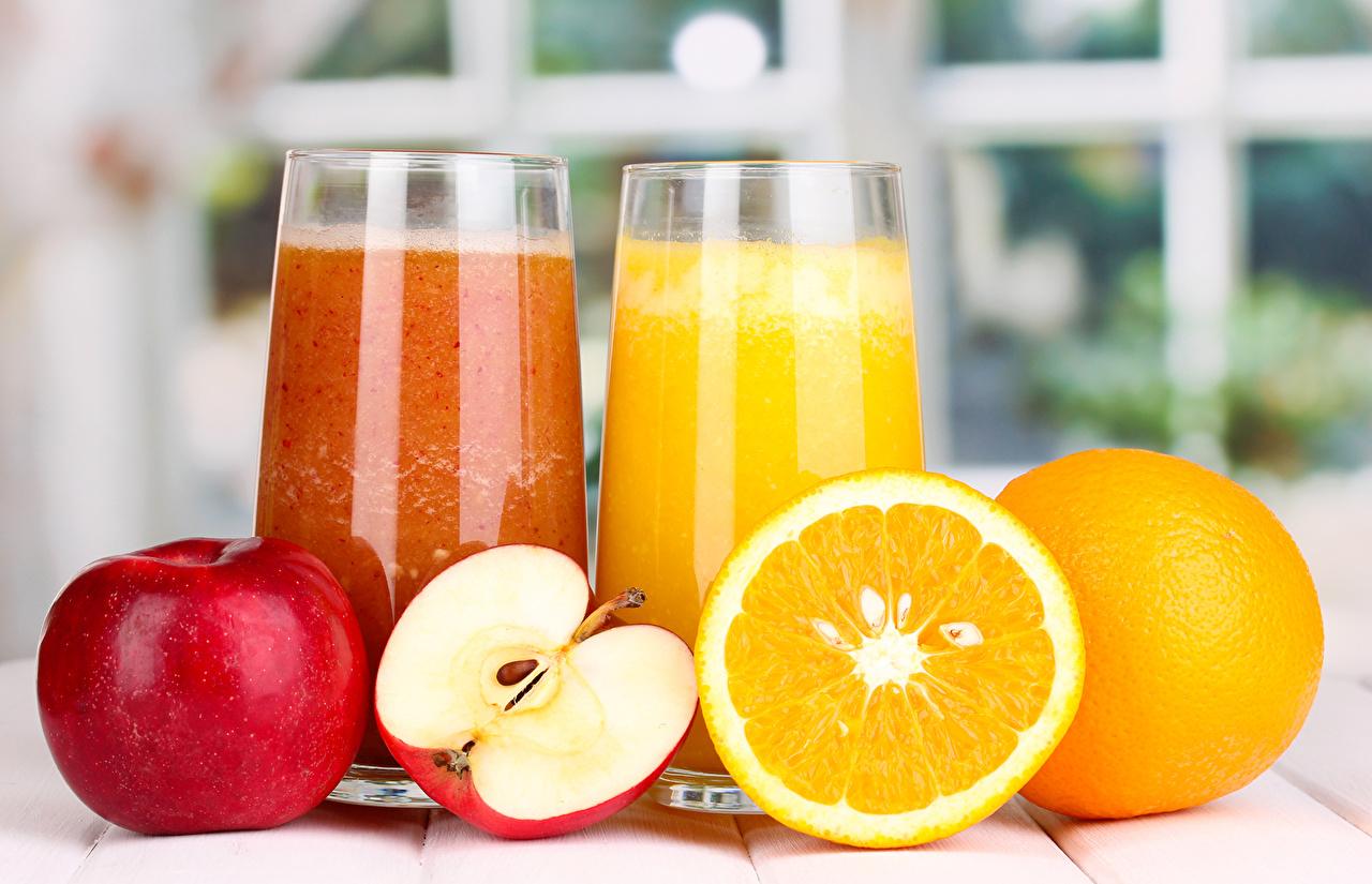 Картинки Сок Апельсин Стакан Яблоки Еда Напитки стакана стакане Пища Продукты питания напиток