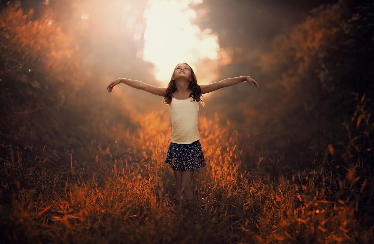 Картинки Лучи света девочка Юбка ребёнок траве Девочки юбки юбке Дети Трава