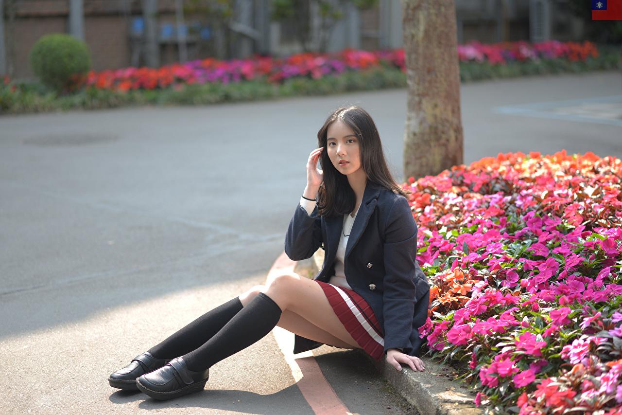 Картинки Гольфы Брюнетка молодая женщина ног Азиаты сидя Пиджак смотрят гольфах брюнетки брюнеток девушка Девушки молодые женщины Ноги азиатки азиатка Сидит сидящие Взгляд смотрит