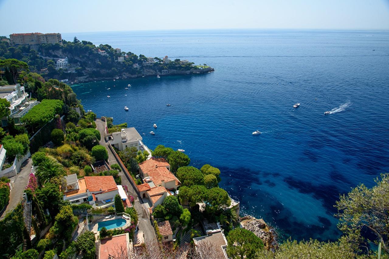 Обои для рабочего стола Франция Cap-d'ail, Provence Море Залив Катера Горизонт Города заливы залива горизонта город