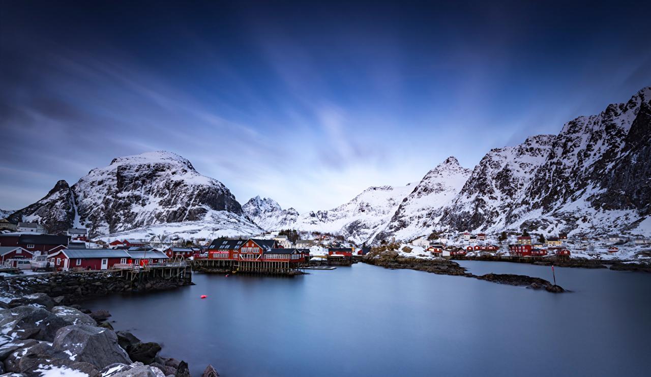 Фотографии Лофотенские острова Норвегия Горы Природа Здания гора Дома